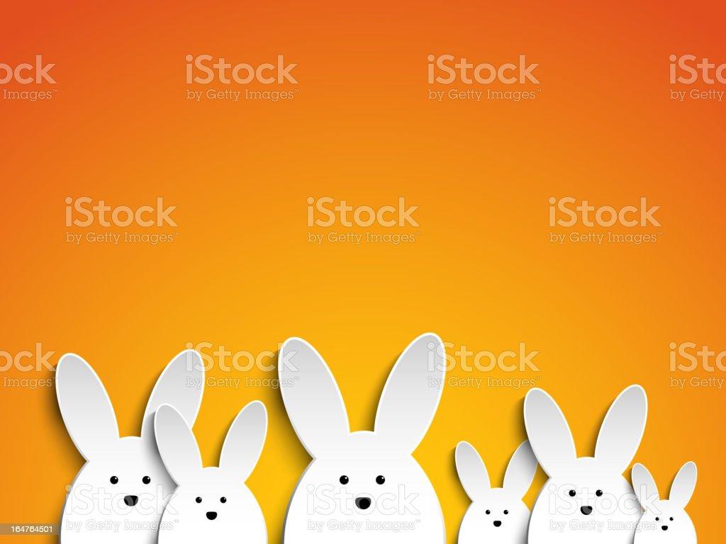 Happy Easter Rabbit Bunny on Orange Background vector art illustration
