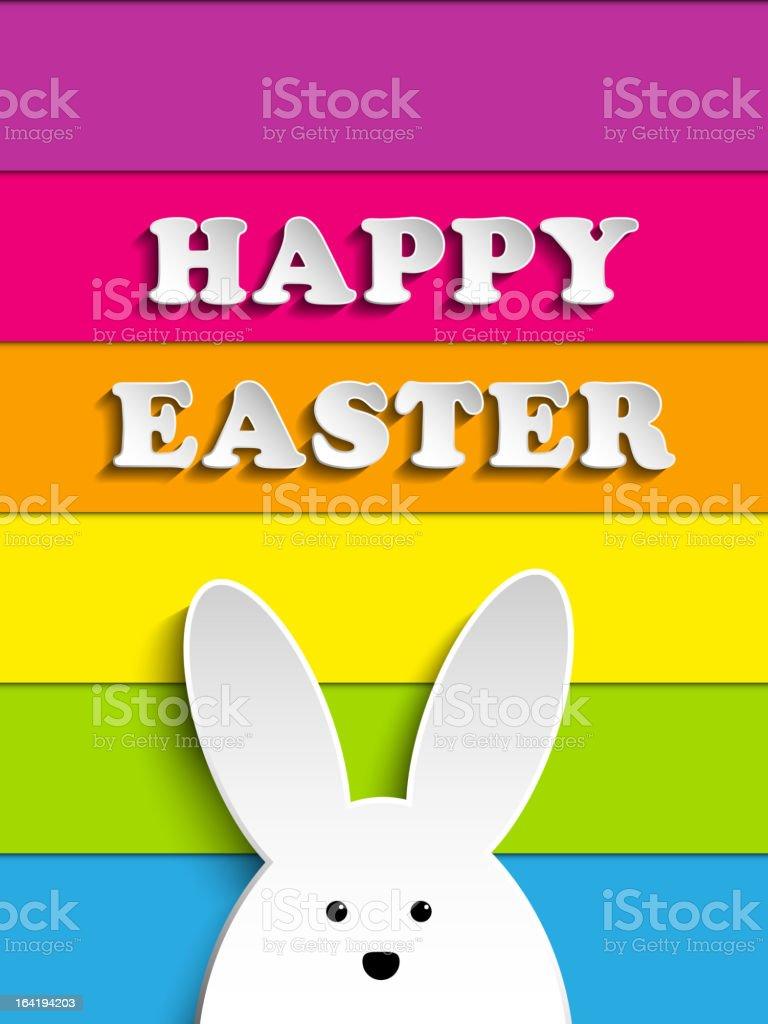 Happy Easter Rabbit Bunny on Rainbow Background royalty-free stock vector art