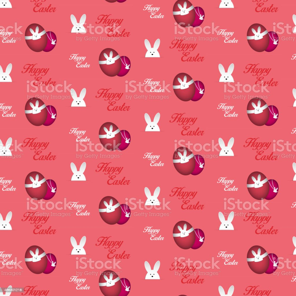 Happy Easter Rabbit Bunny Pink Seamless Background vector art illustration