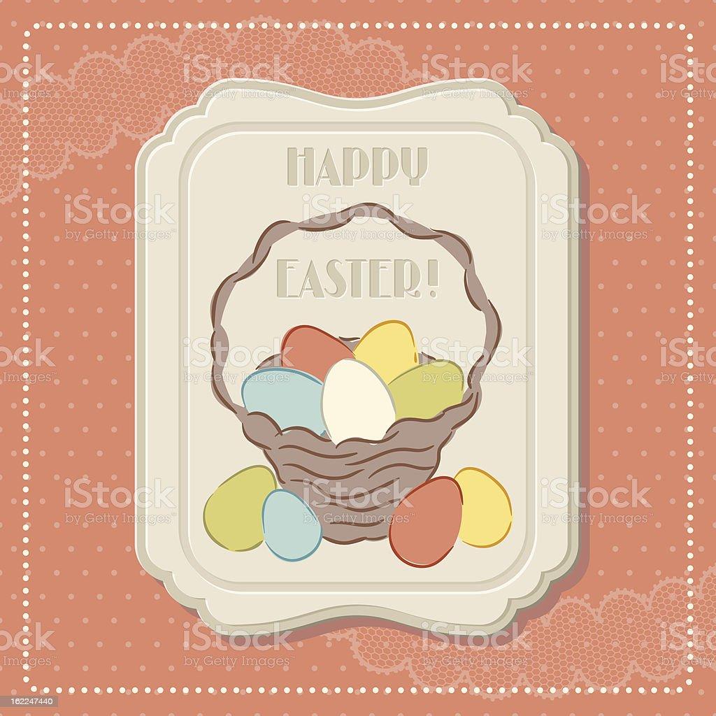 Happy Easter retro greeting card. vector art illustration