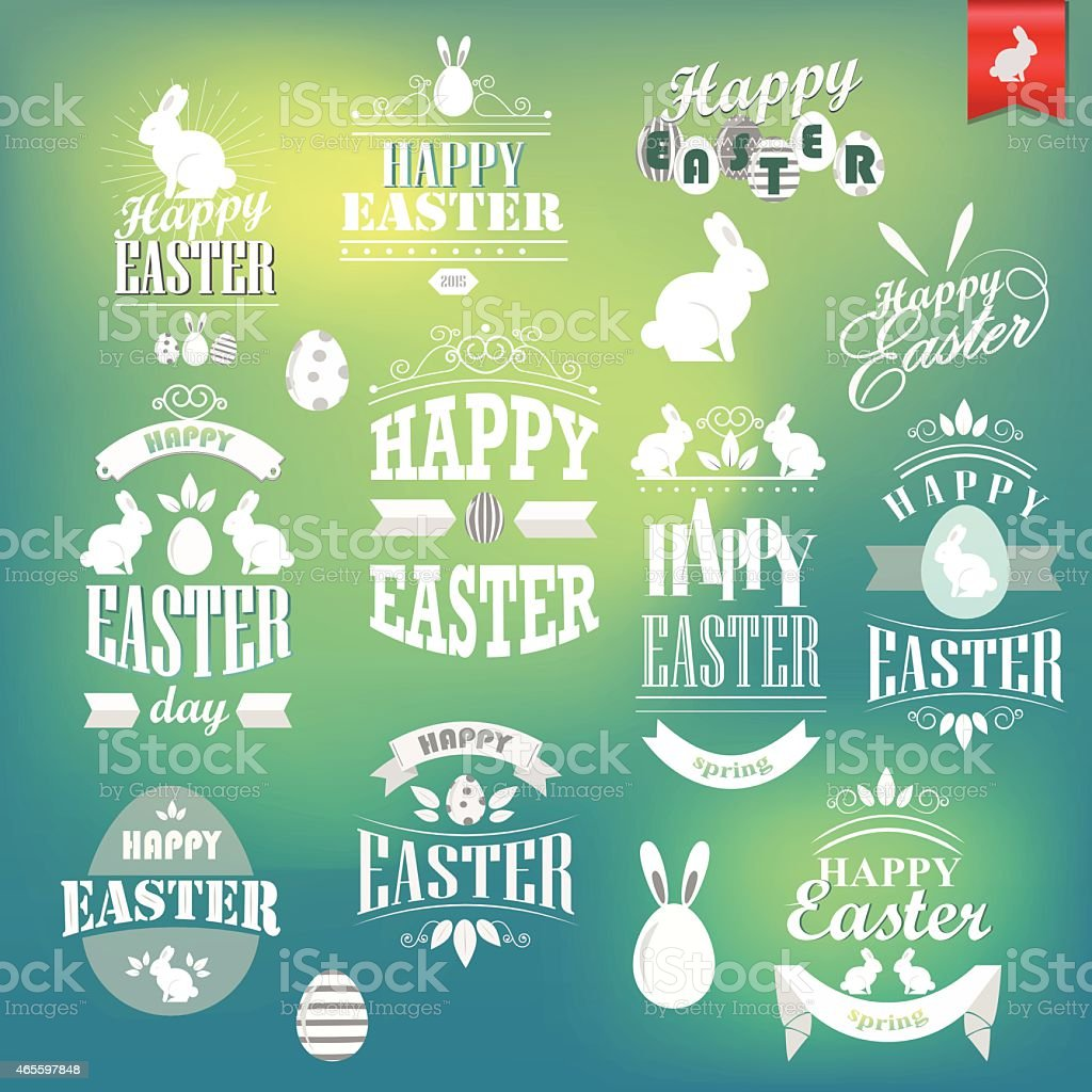 Happy Easter retro style calligraphic labels. Typography design elements set vector art illustration