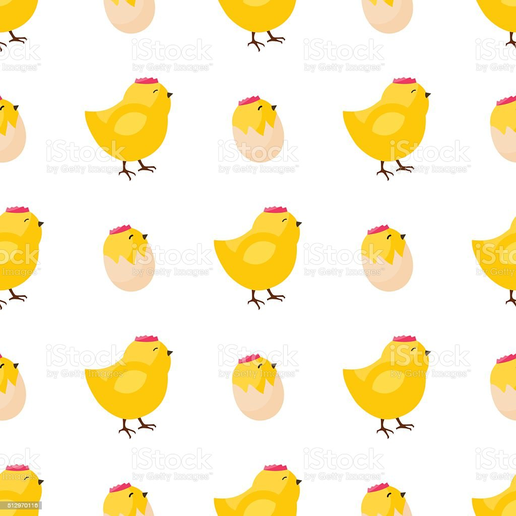 Happy Easter Seamless Pattern. Flat Icons Spring Holiday Concept vector art illustration
