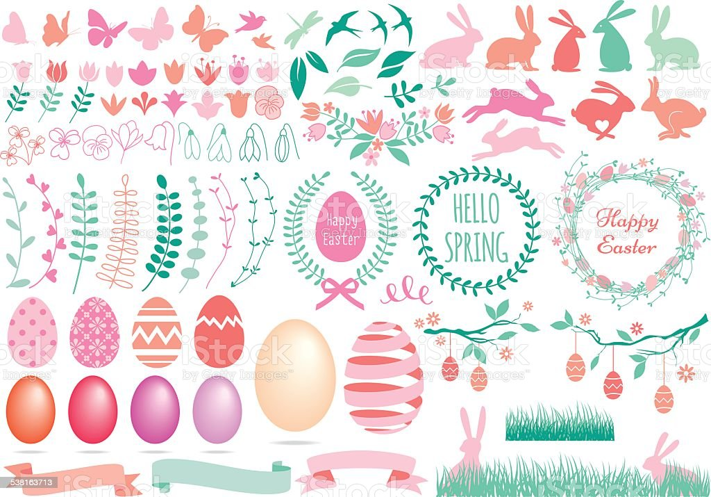 Happy Easter set, vector vector art illustration