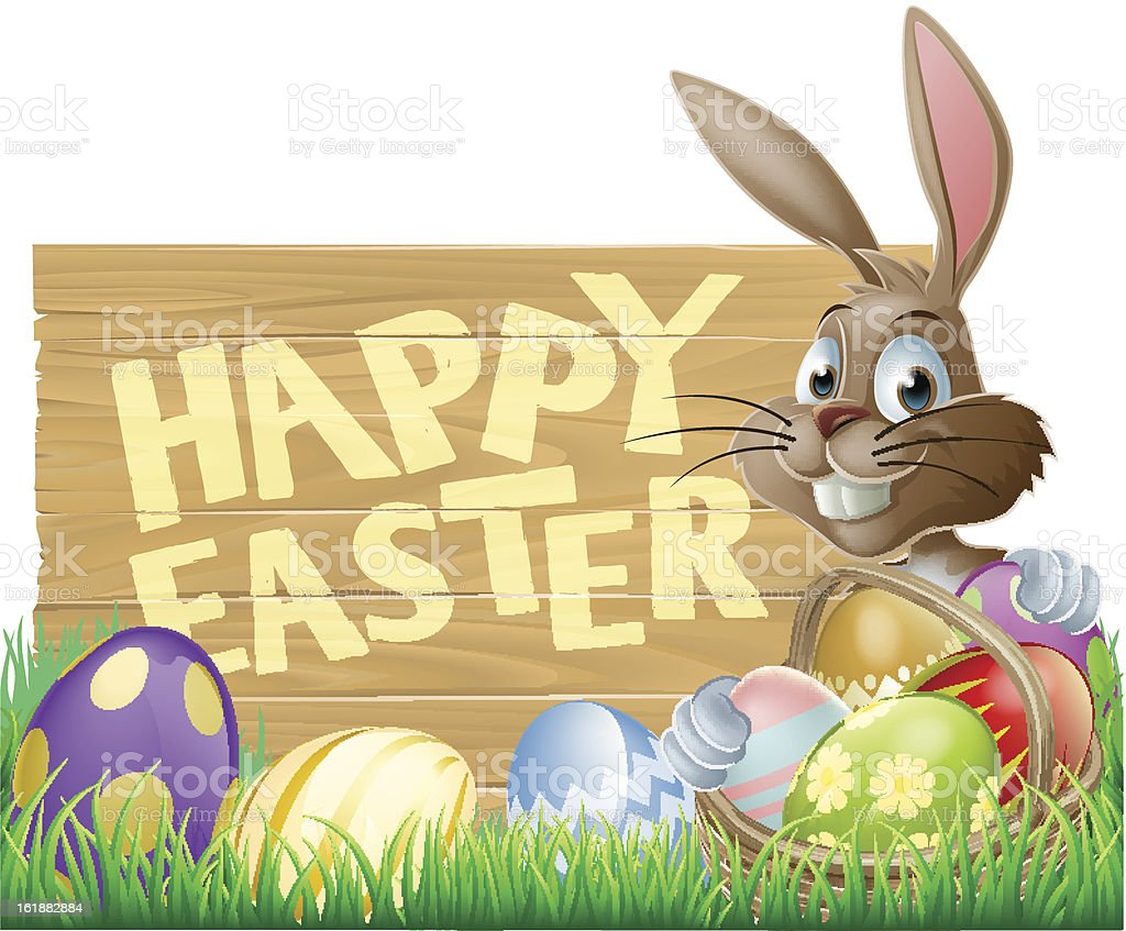 Happy Easter Sign Bunny royalty-free stock vector art