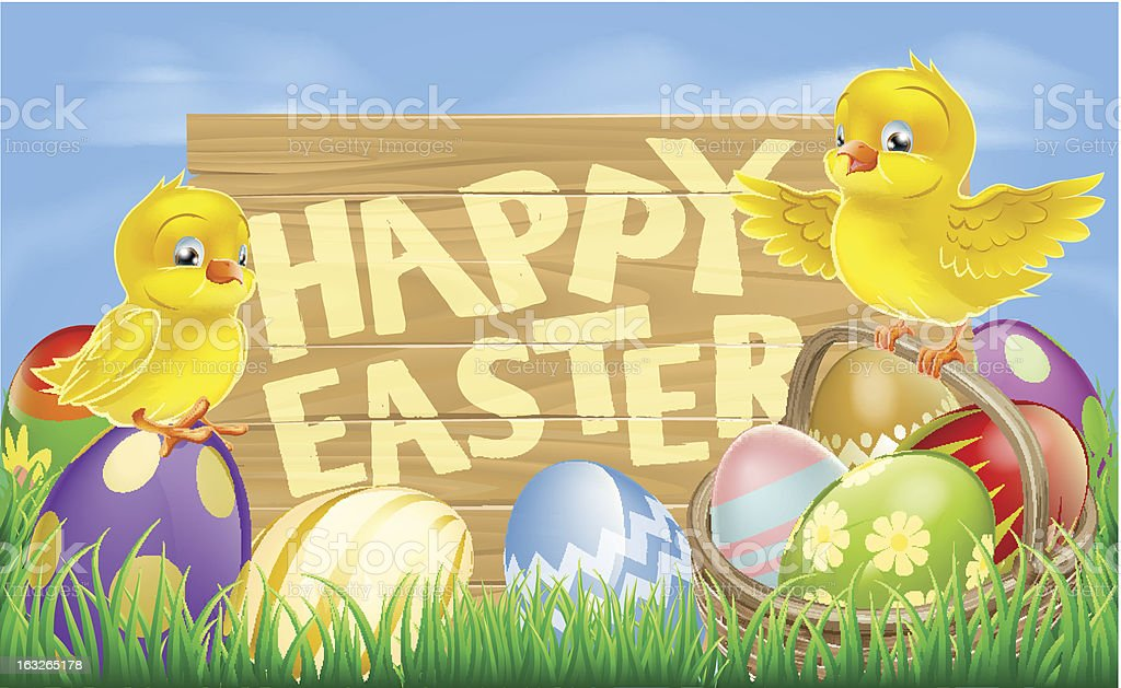 Happy Easter Sign royalty-free stock vector art