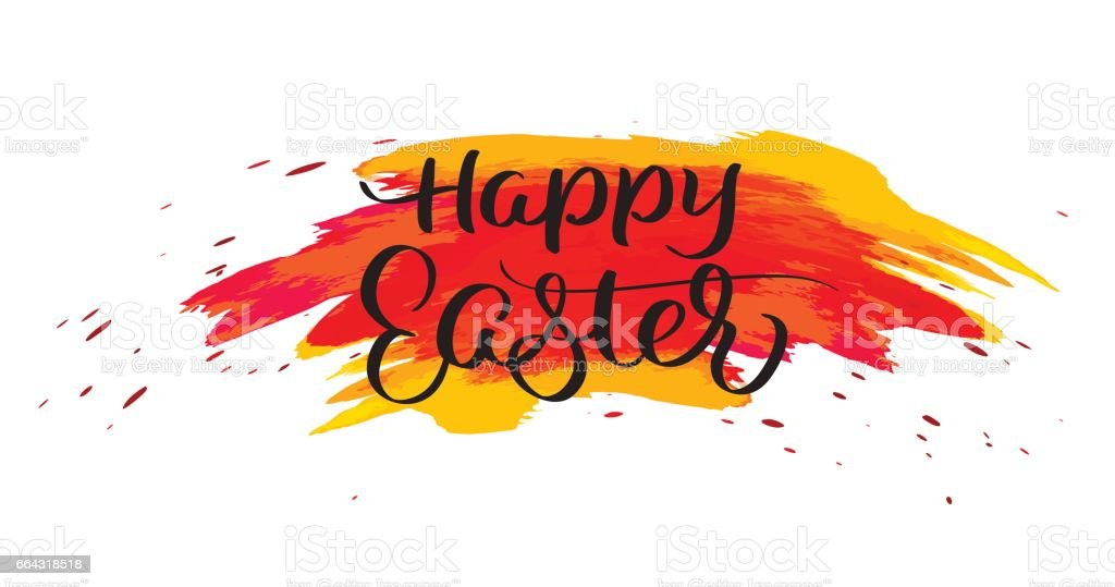 Happy Easter text on watercolor red blots. Hand drawn Calligraphy lettering Vector illustration EPS10 vector art illustration