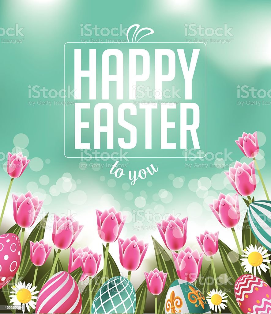 Happy Easter tulips eggs and text vector art illustration