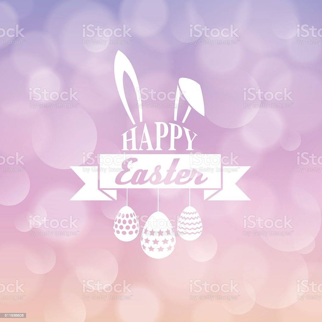 Happy Easter Typography, egg paint , bunny ,blur Background vector art illustration