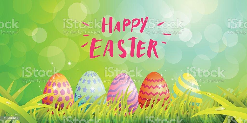 Happy Easter Typography vector art illustration