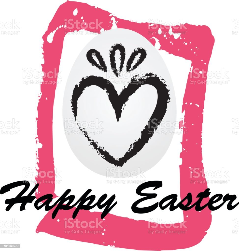 Happy Easter vector card on the hand drawn background. vector art illustration