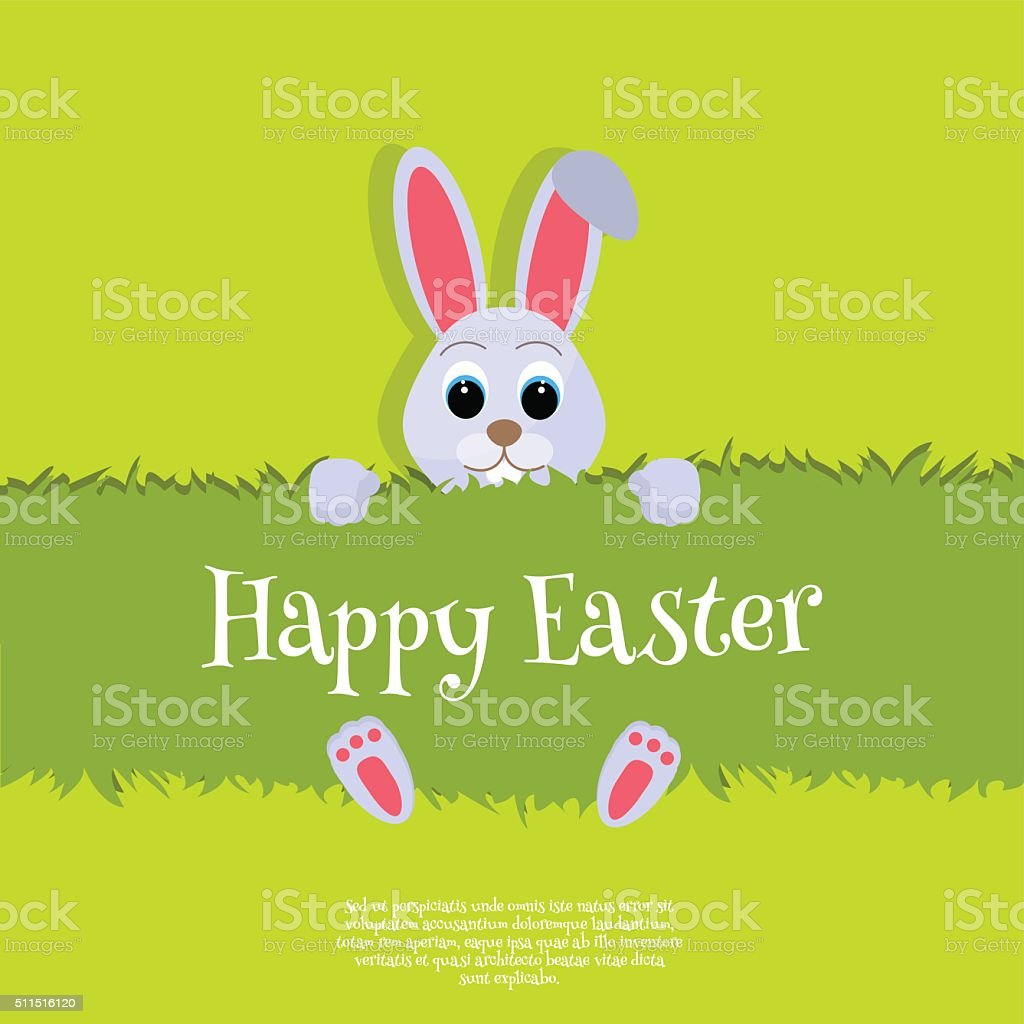 Happy Easter Vector Easter bunny looking out a green background vector art illustration