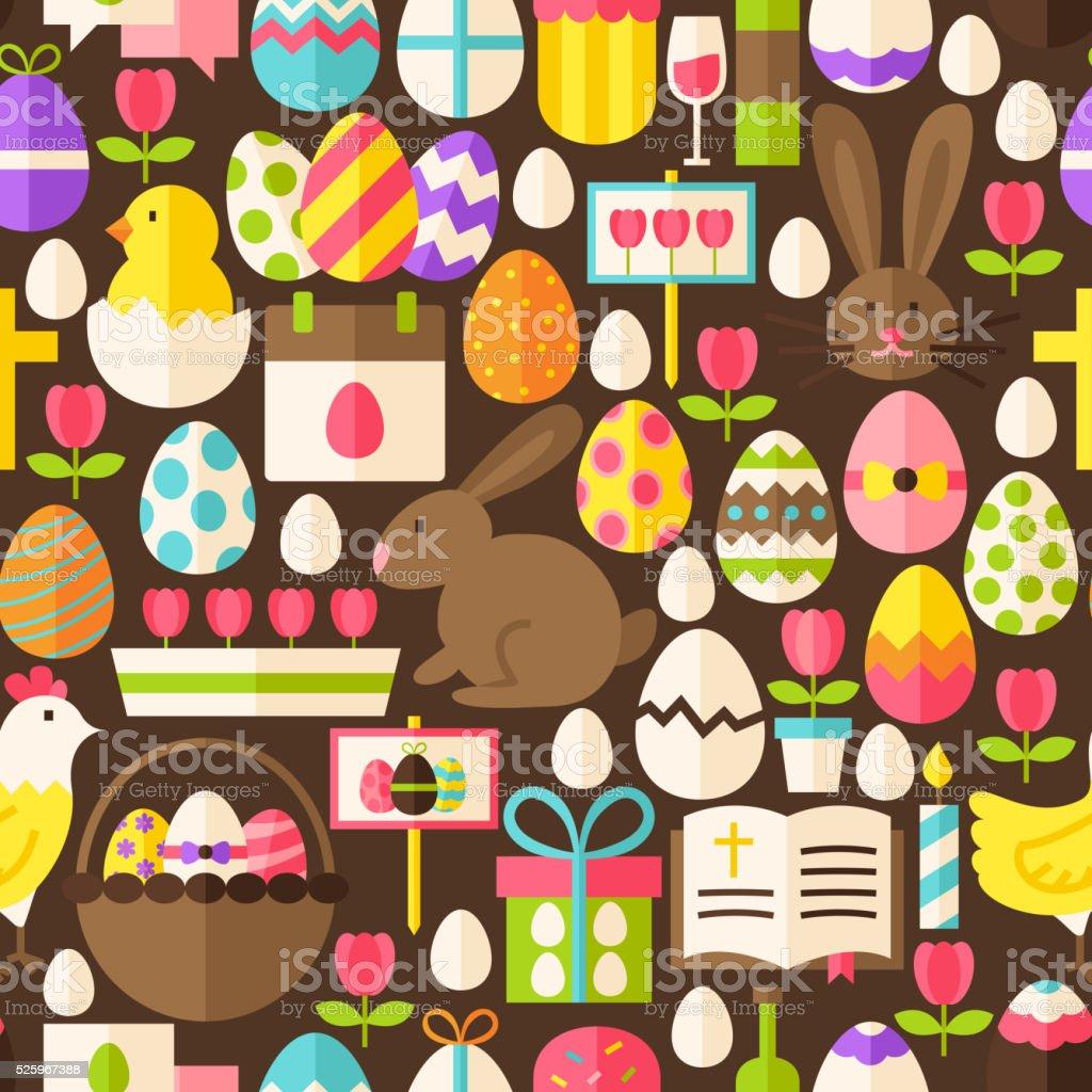 Happy Easter Vector Flat Design Dark Brown Seamless Pattern vector art illustration