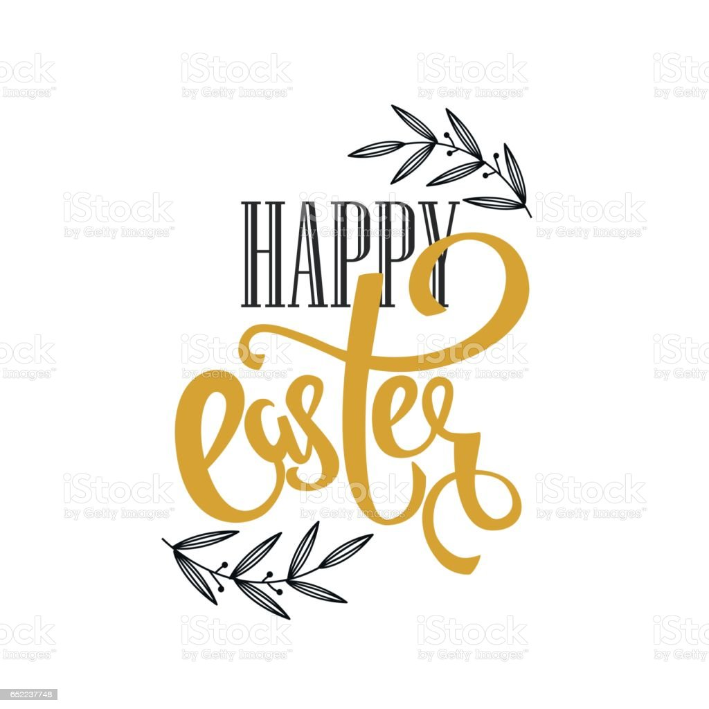 Happy Easter vector hand lettering greeting card, poster background. vector art illustration