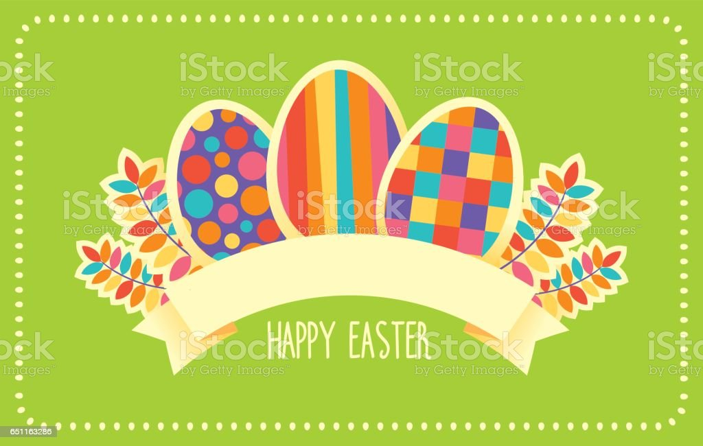 Happy Easter vector retro card or banner template vector art illustration