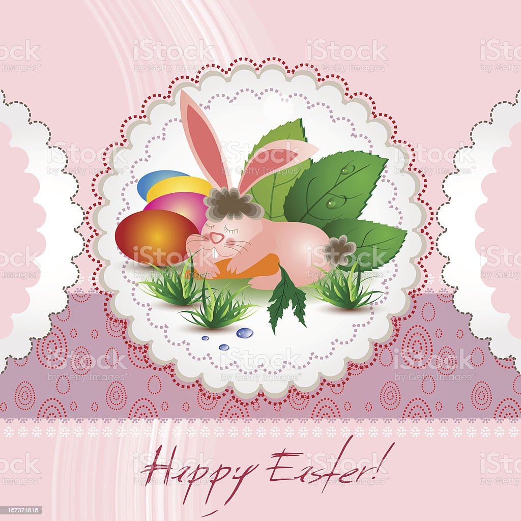 Happy Easter with bunny royalty-free stock vector art
