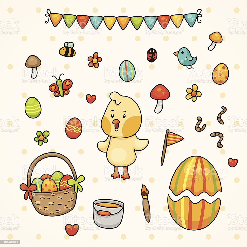 Happy Easter with chick royalty-free stock vector art
