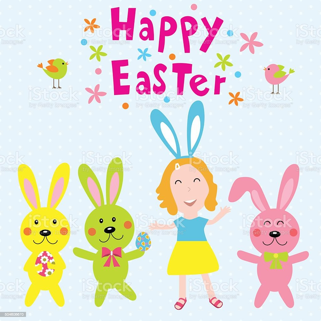 Happy easter with kids and rabits vector illustration EPS10. vector art illustration