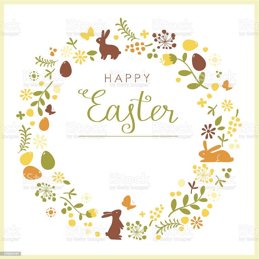 Happy Easter wreath card vector art illustration