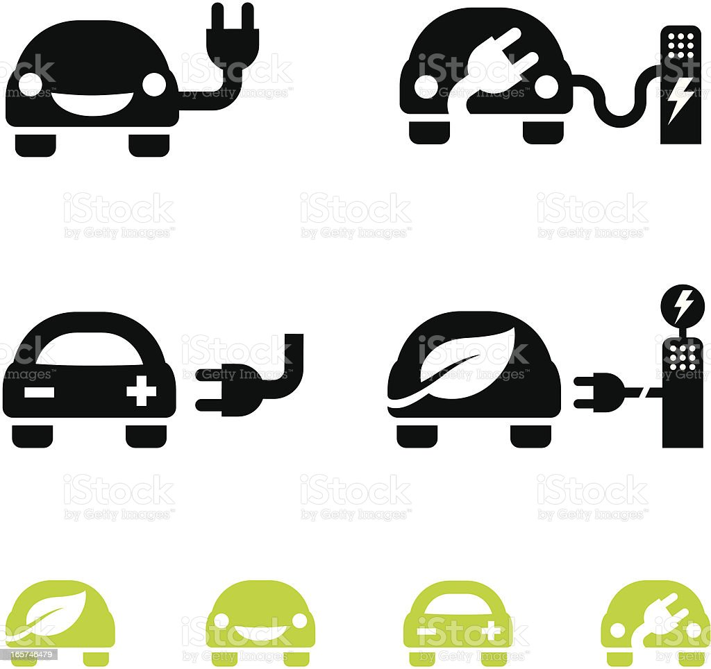 Happy electric car icons - vector vector art illustration