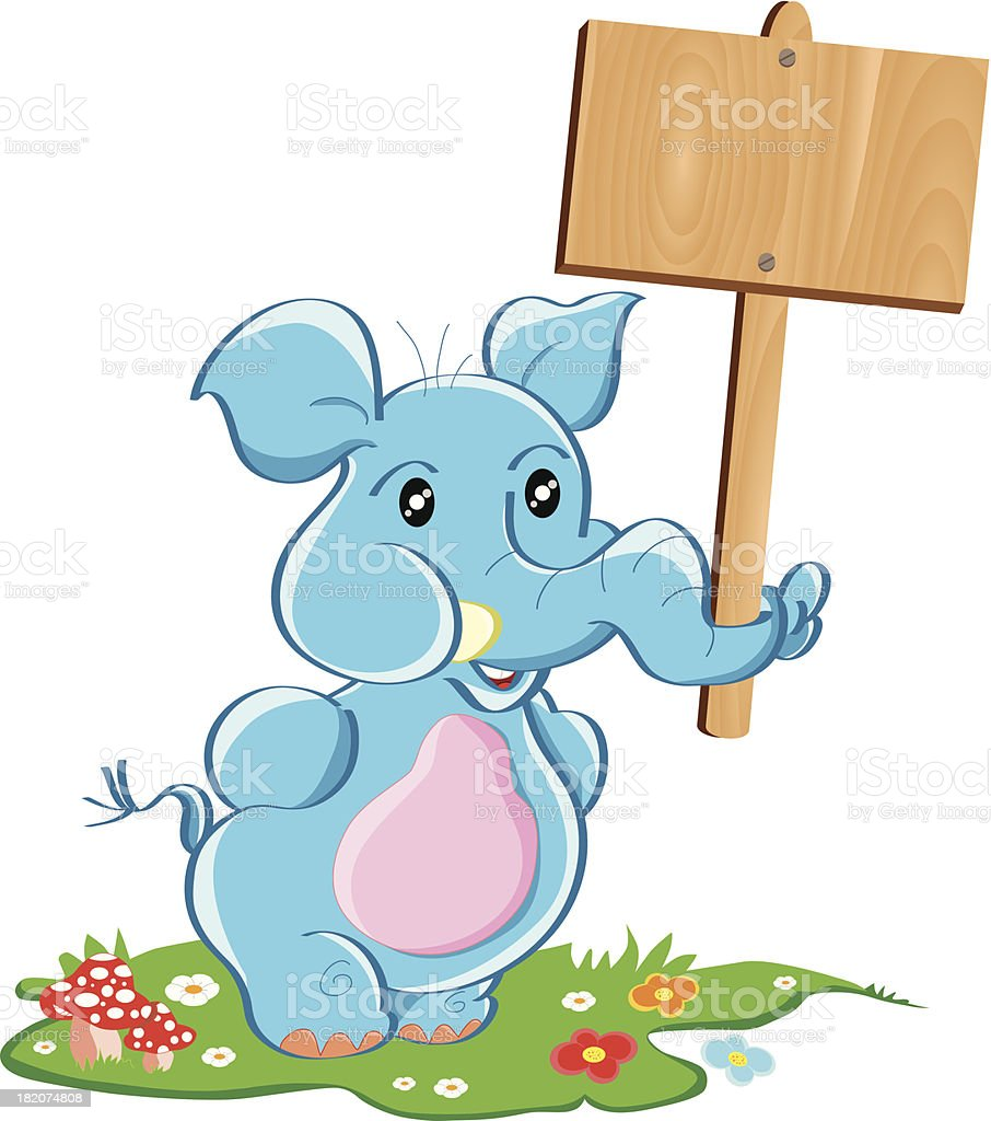 Happy Elephant and Wooden Signboard royalty-free stock vector art