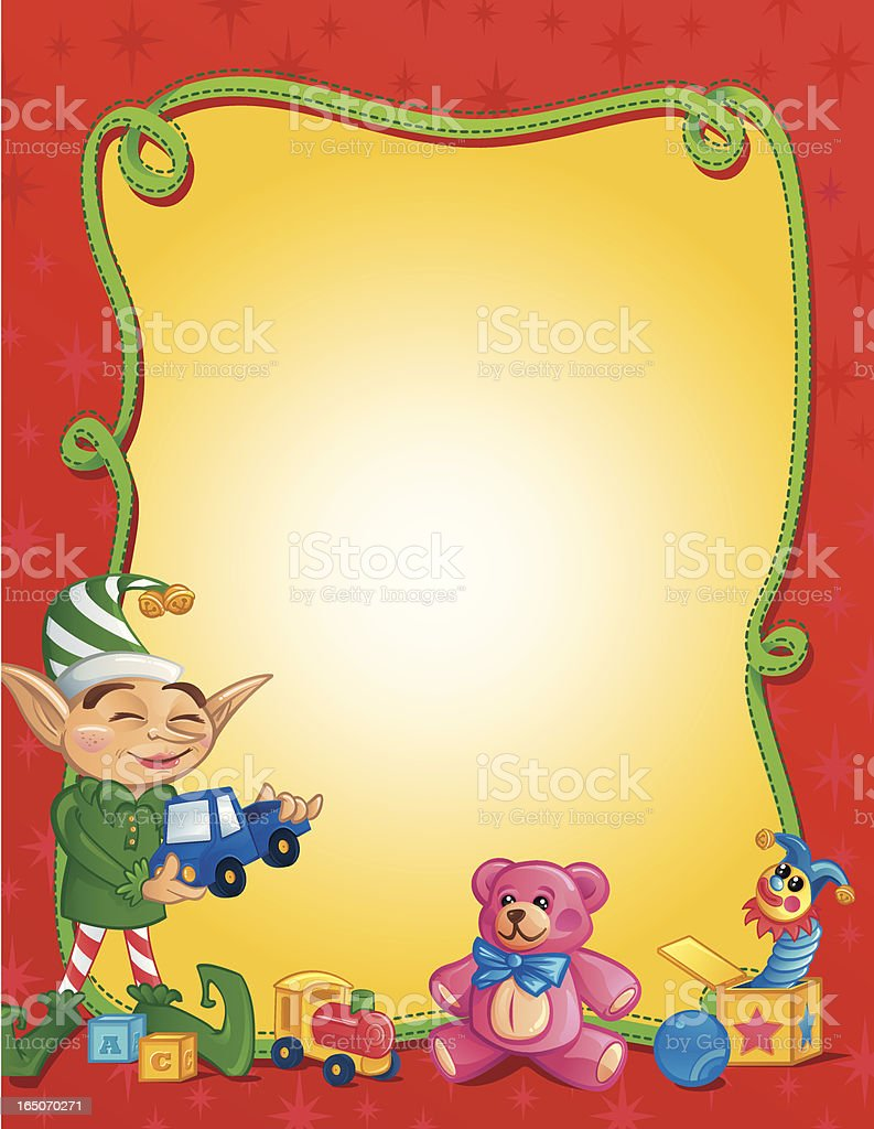 Happy Elf Frame 1 vector art illustration