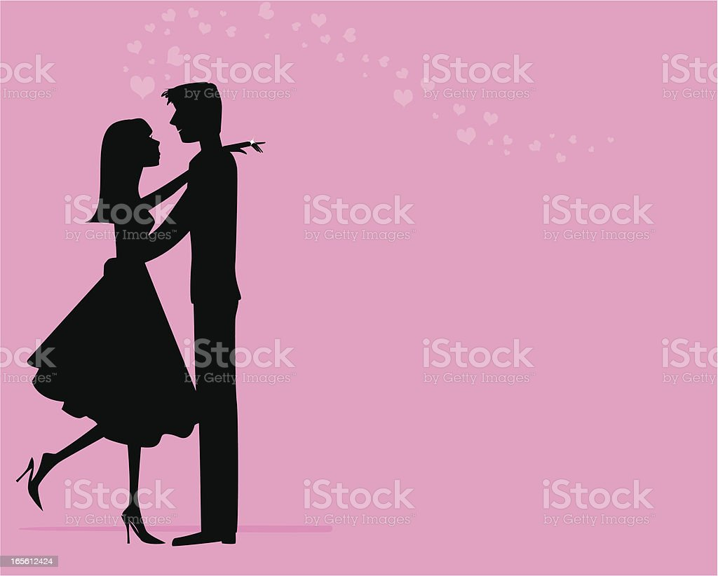 Happy engaged profile in black, on a pink background  vector art illustration