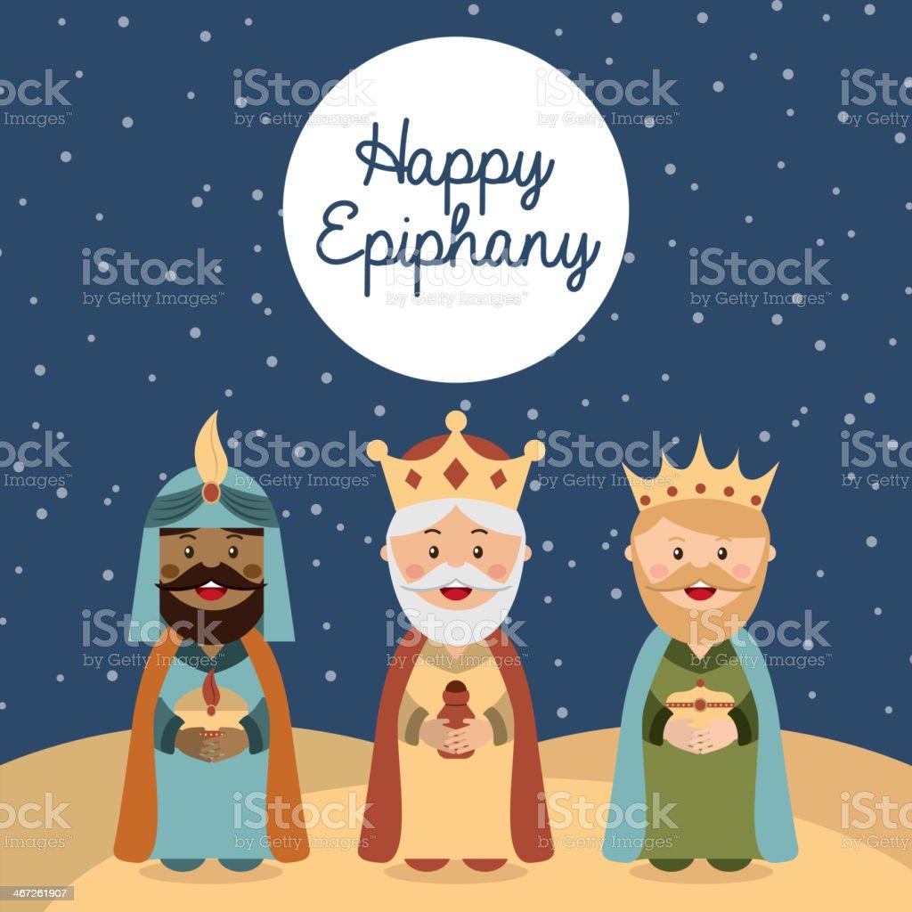 Happy Epiphany card with cartoon three kings vector art illustration