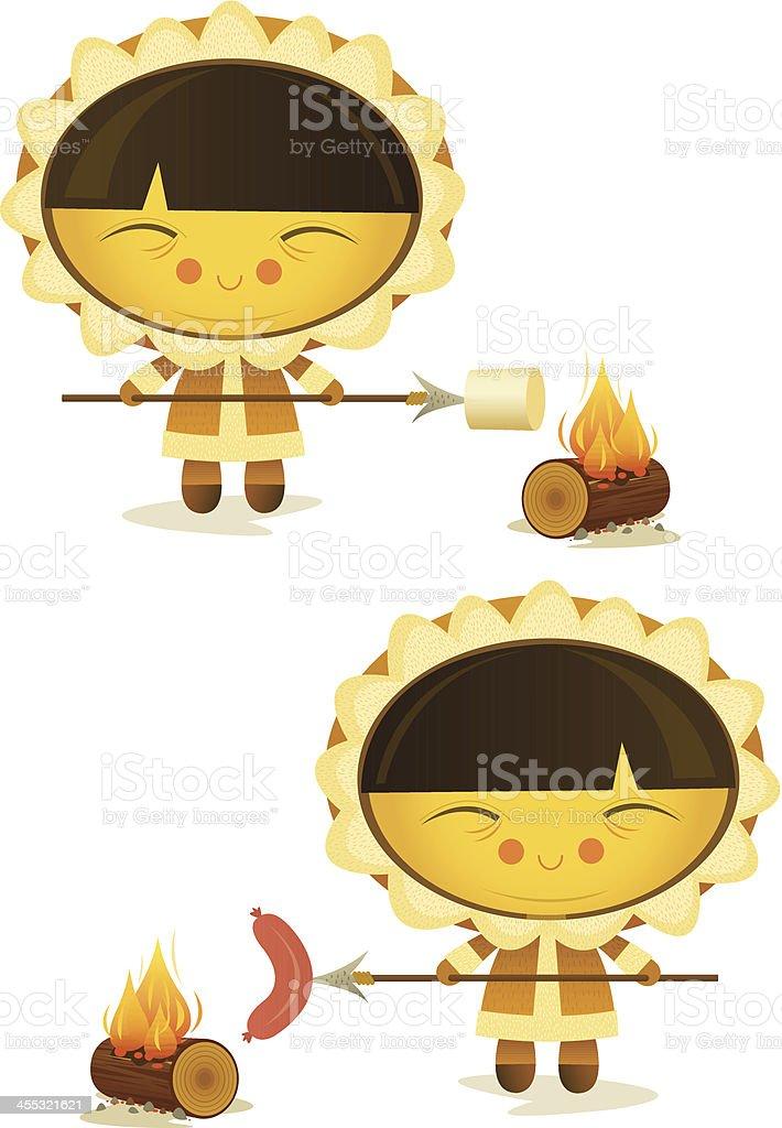 Happy Eskimo Cooking vector art illustration
