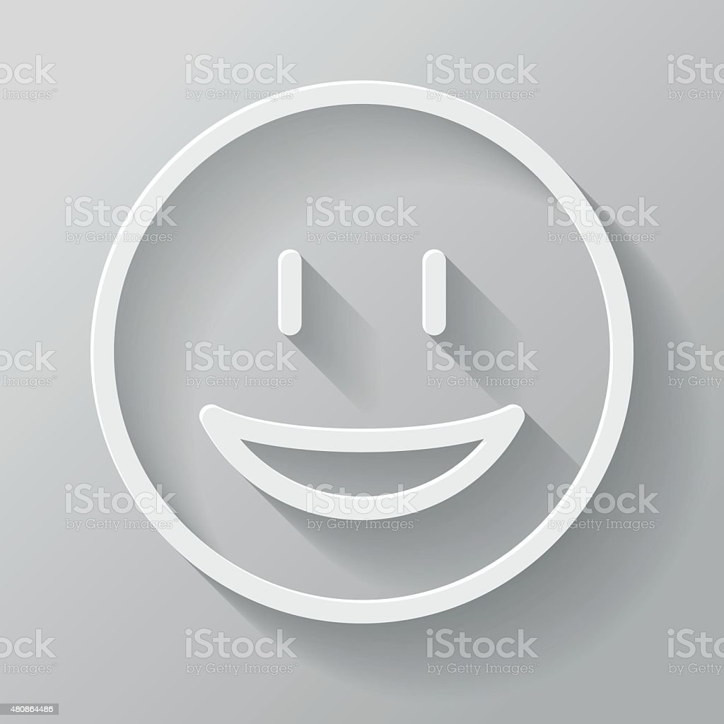 Happy Face Paper Thin Line Interface Icon With Long Shadow vector art illustration