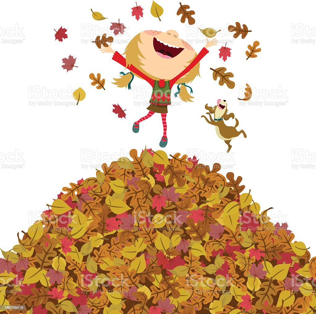 Happy fall girl vector art illustration