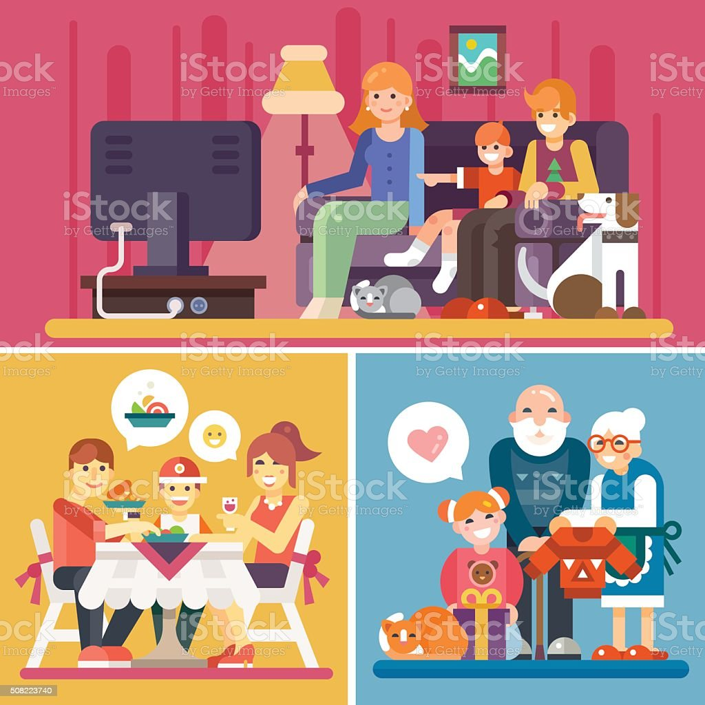 Happy Families! vector art illustration