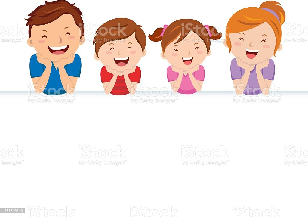 Happy family and banner vector art illustration
