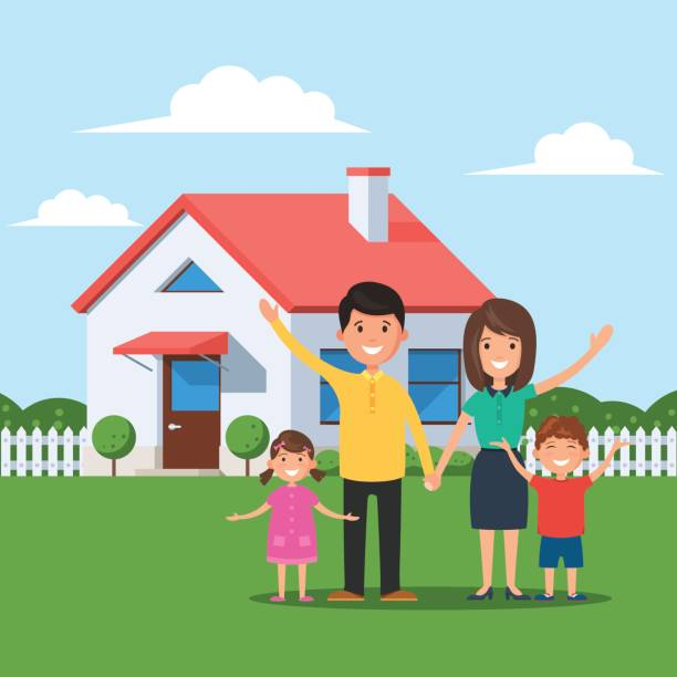 Cartoon Of The Happy Family Front House Clip Art, Vector ...