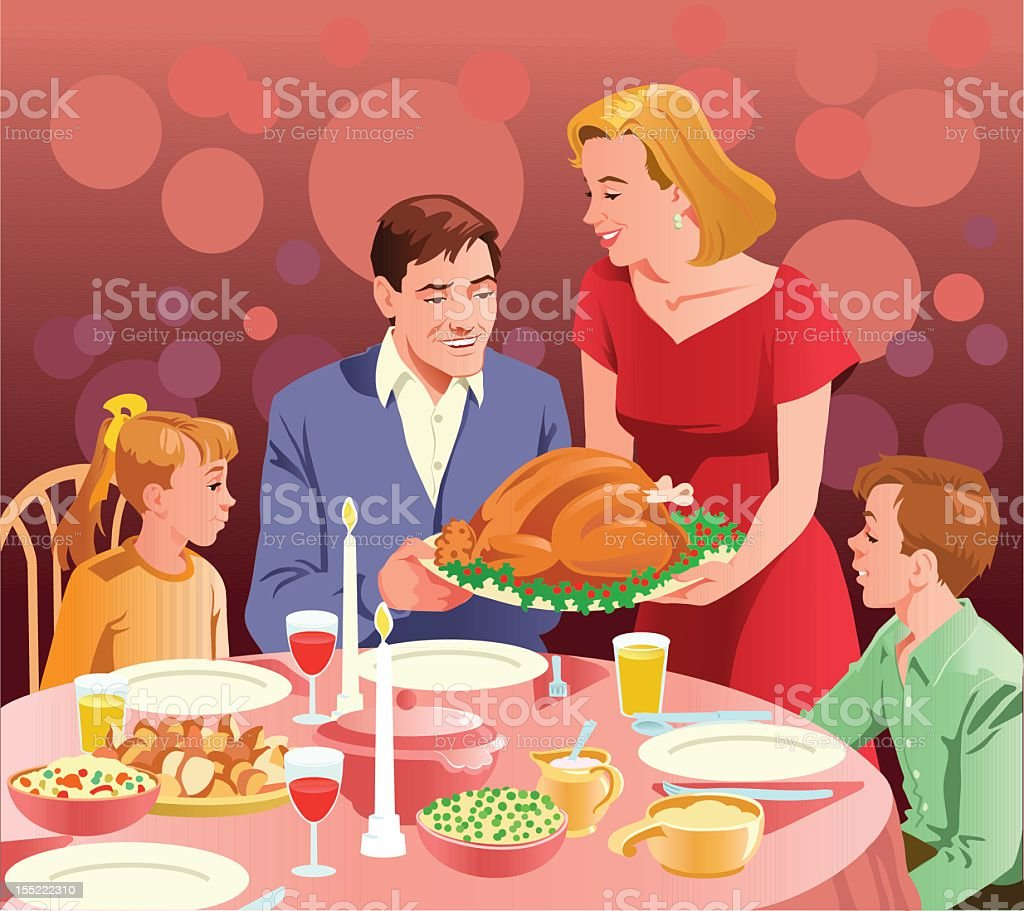 Happy Family at Thanksgiving Dinner vector art illustration
