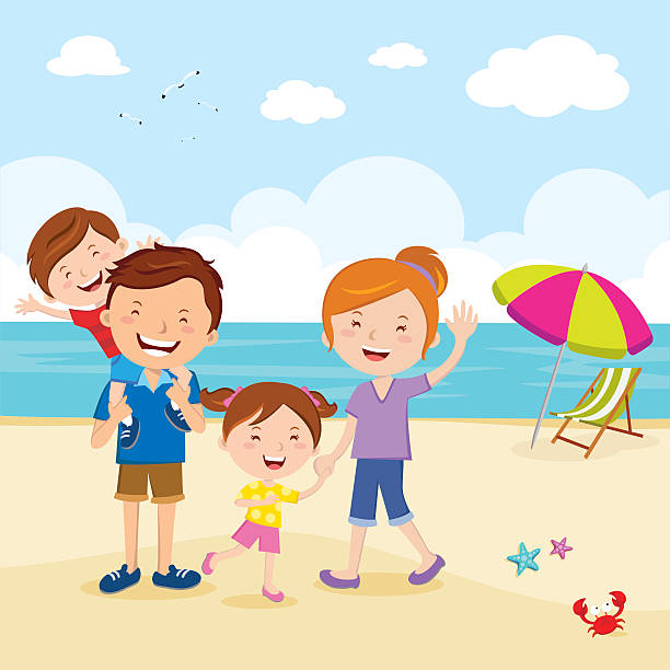 Illustration Of Family Enjoying Picnic On Beach Together ...