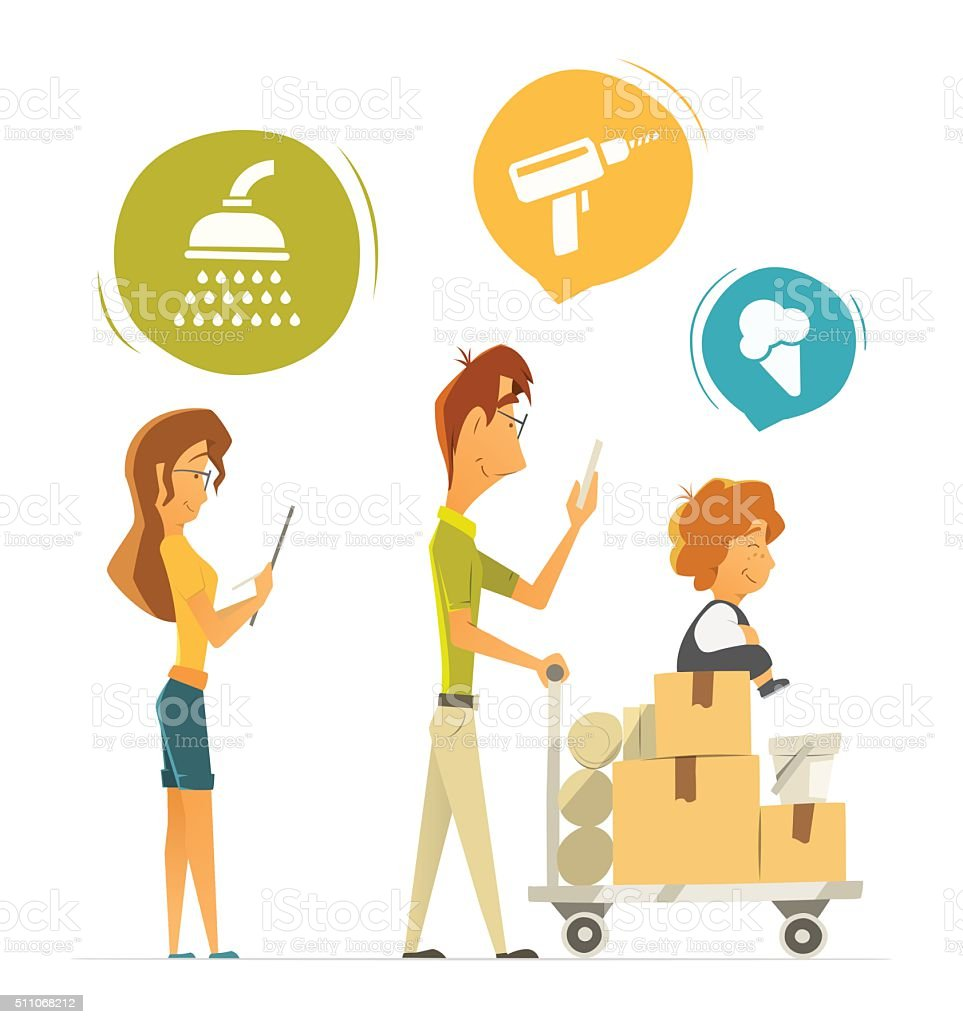Happy family buying shopping in hardware household shop store vector art illustration