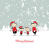 Happy family, christmas card for your design