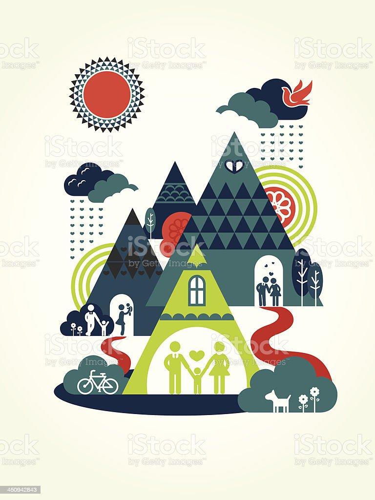 Happy Family Concept Illustration royalty-free stock vector art