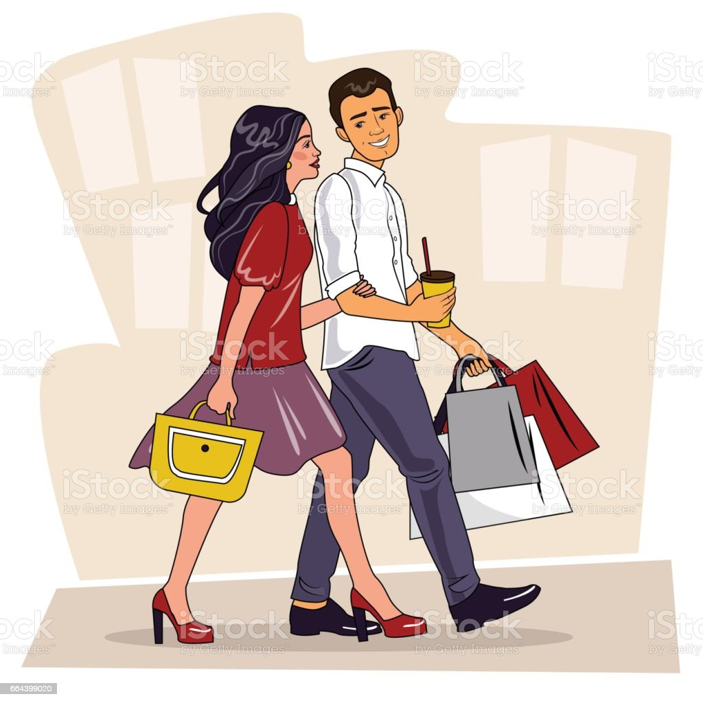 Happy family couple with shopping. Beautiful Man and woman with shopping bags walking on street. Big Sale. Shopping couple vector art illustration
