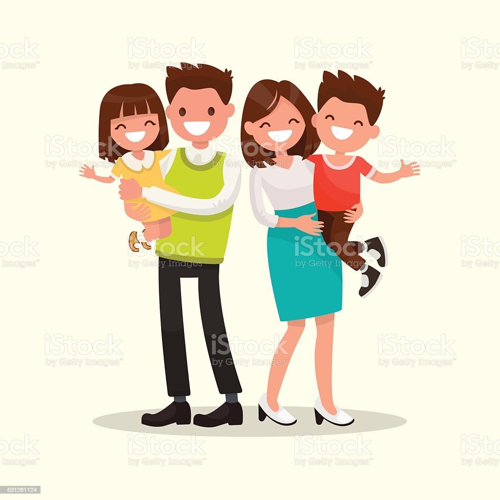 Happy family. Father, mother, son and daughter together. Vector vector art illustration