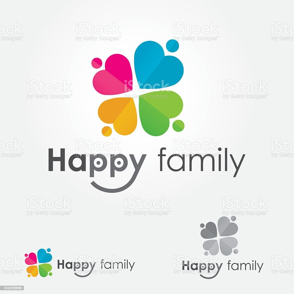 Happy Family Four Leaf Clover Logo vector art illustration