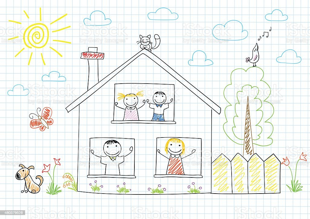 Happy family in new house vector art illustration