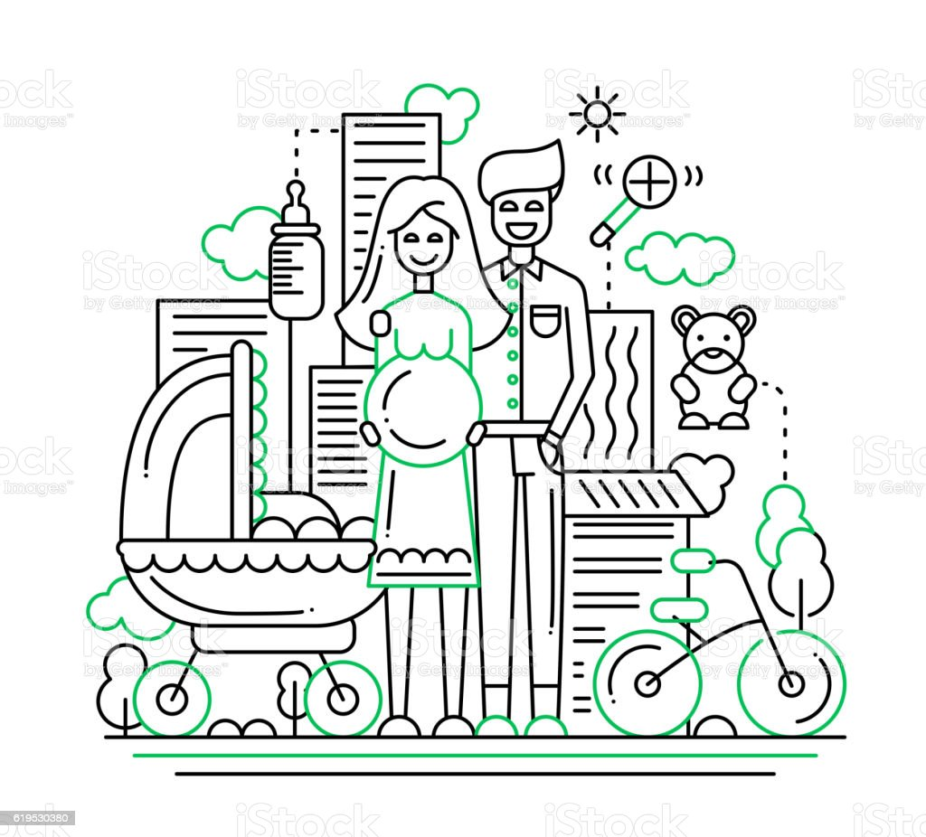 Happy family - line design illustration vector art illustration