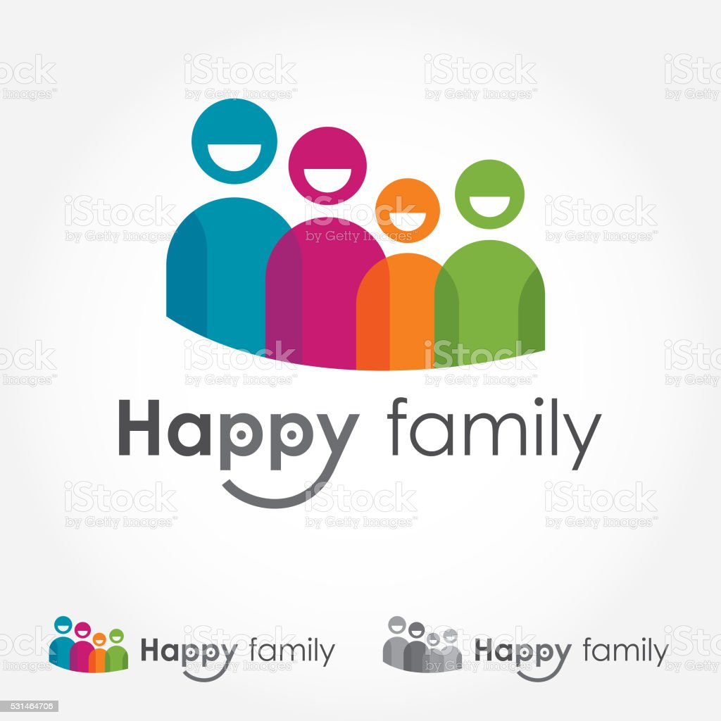 Happy Family Logo vector art illustration