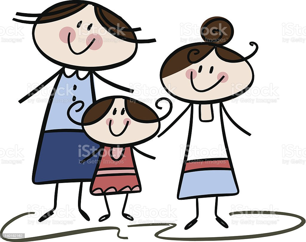 Happy family: Mom and daughters - eps10 vector art illustration