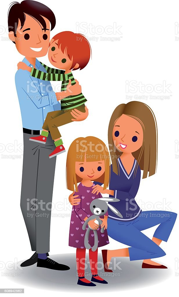 Happy Family of Four. vector art illustration