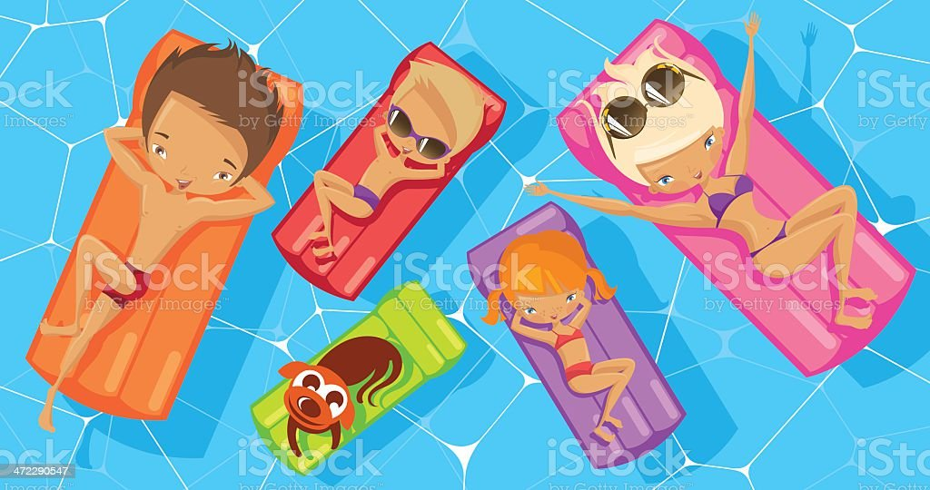 Happy family on a holiday. vector art illustration