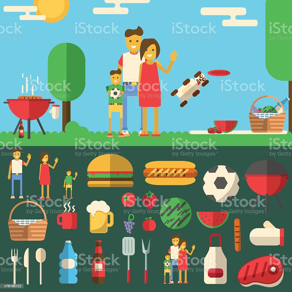 Happy family on barbecue. vector art illustration