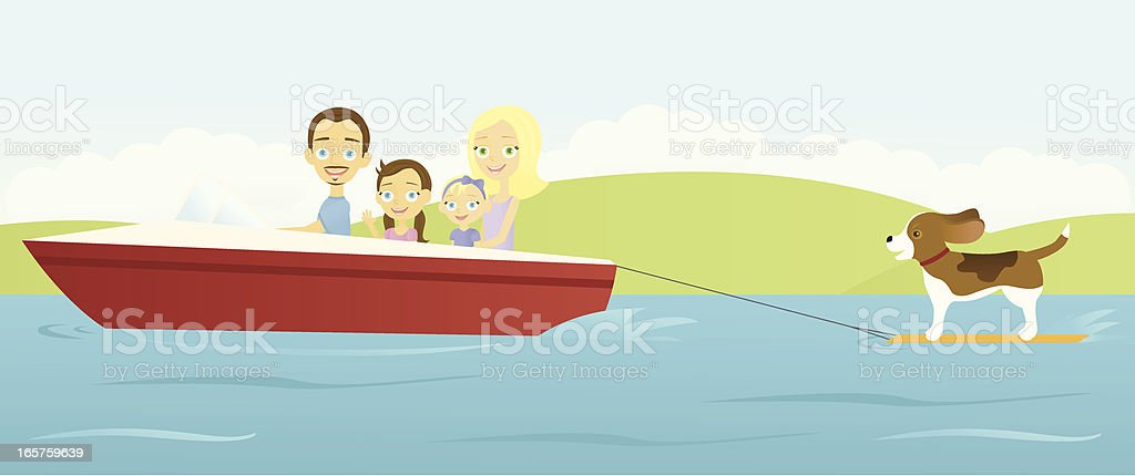 Happy Family on the Lake royalty-free stock vector art