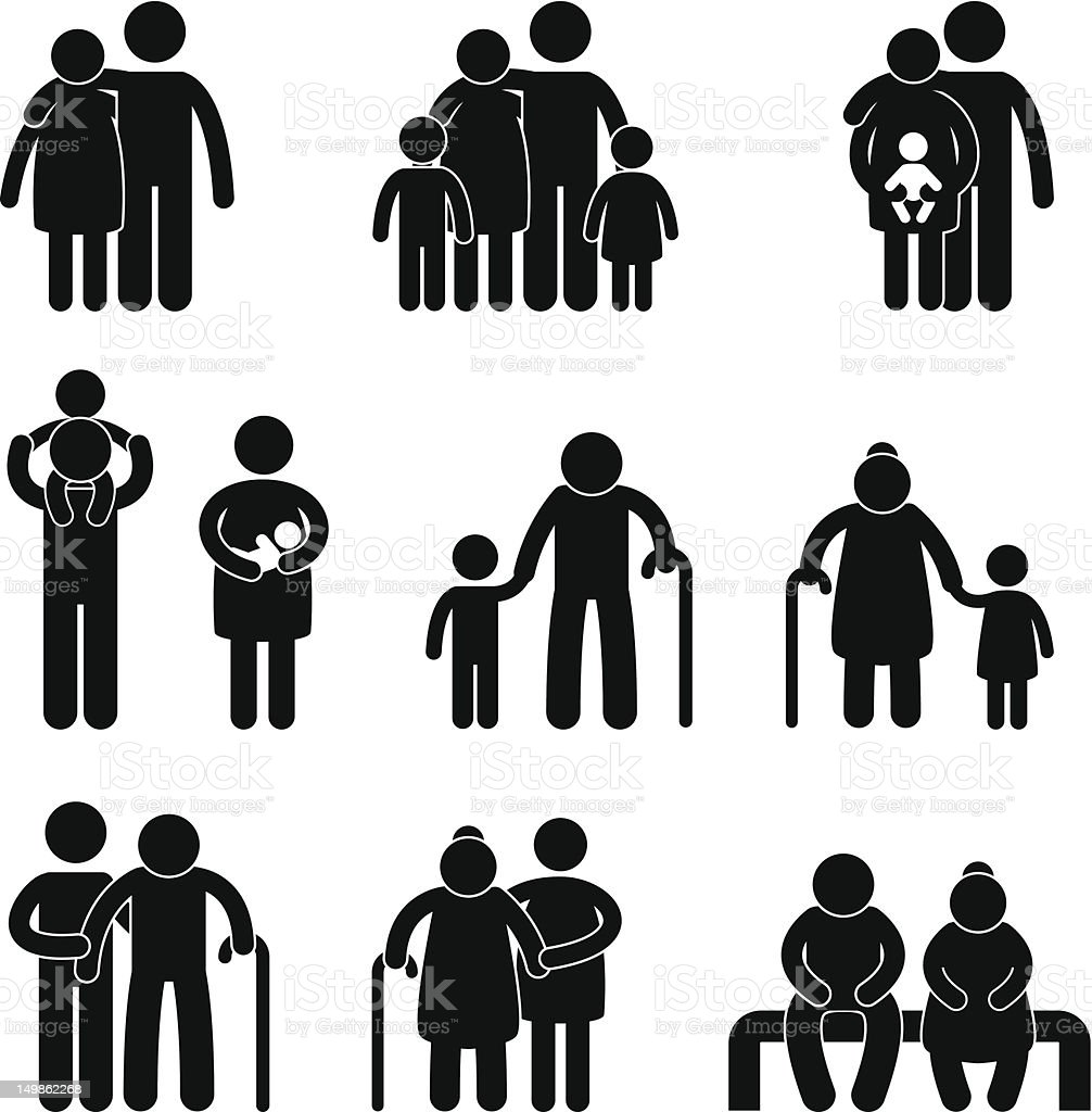 Happy Family Pictogram vector art illustration